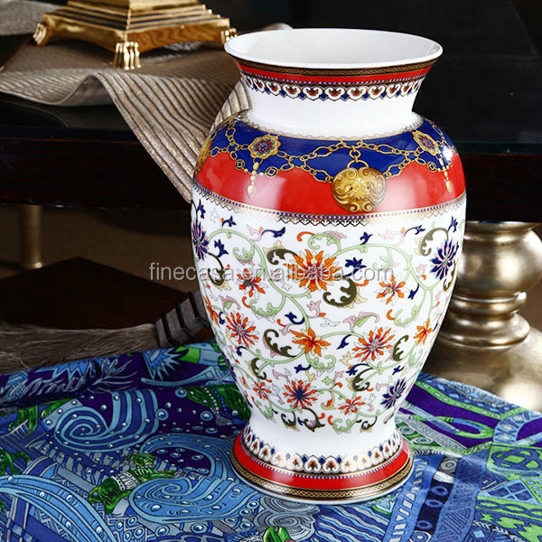 Luxury Fine New Bone China Antique Ceramic Flower Vase of Grand Banquet