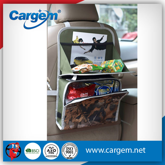 CARGEM Oxford Folding Car Seat Back Table With Storage Bag