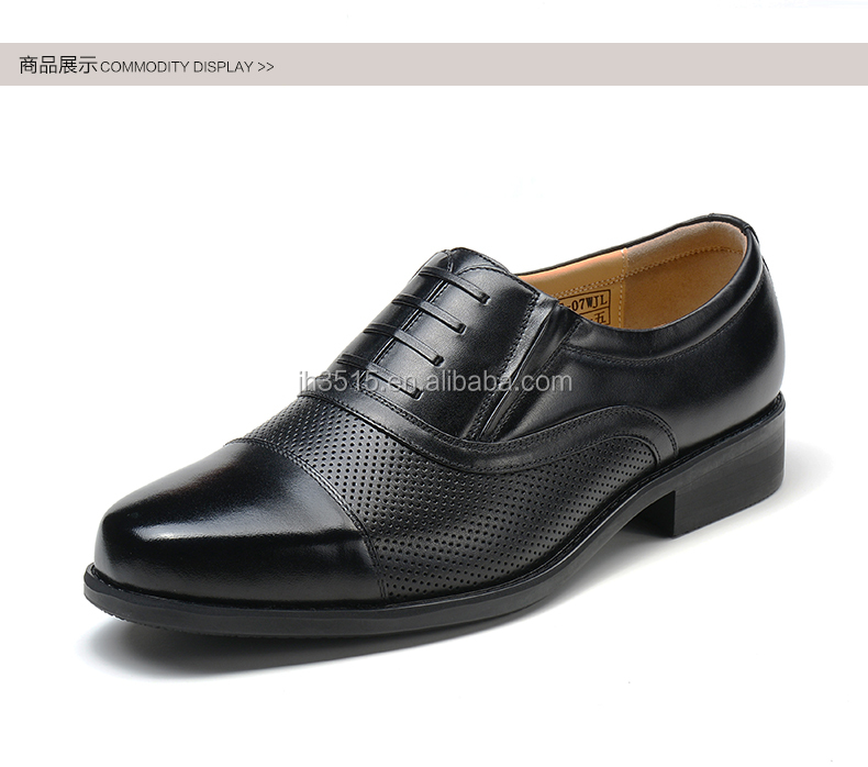 Black genuine leather dress men shoes