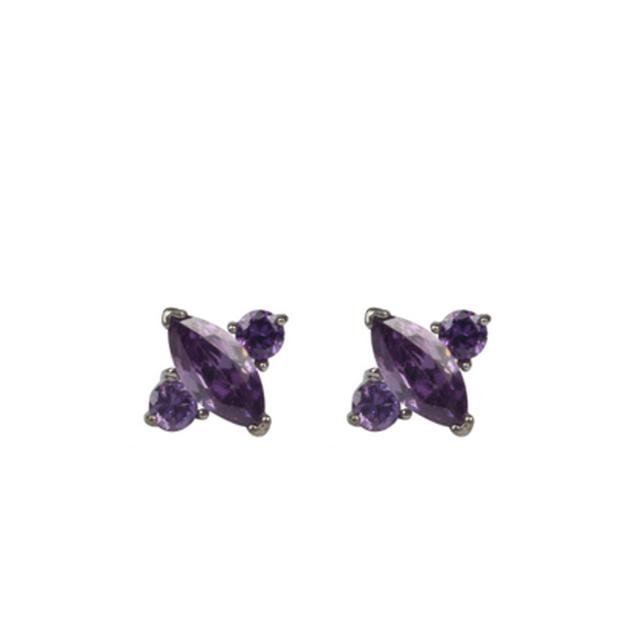 Korea Style Fashionable charming earrings purple CZ stone plane shape prong setting for wholesales