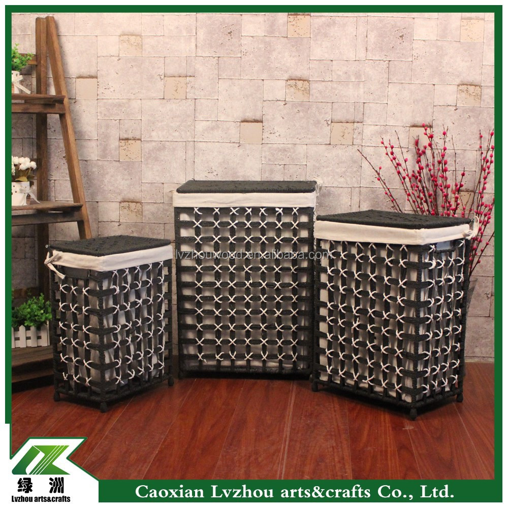 factory provide grey color paper woven laundry basket,folding laundry basket