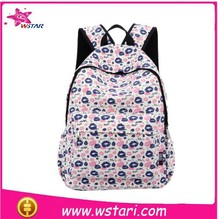 2015 Fashion School New Type Dot Printed Canvas Backpack Bag