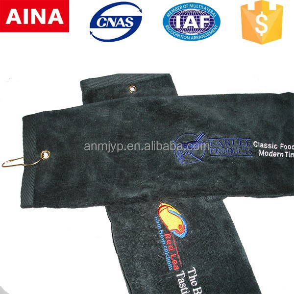 wholesale 100 cotton cut velvet customized embroidered golf towel