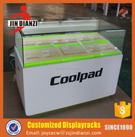 POP mobile phone plywood display counter with arcylic display stands