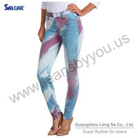 Mid Rise Colour Decoration Printed Straight Skinny Pencil Woman Jeans