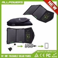 Fast Charging Foldable Solar Chargers 5V8W Solar Panels Portable Solar Chargers for mobile phone/Ipad/power bank