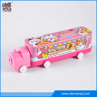China factory distributor Train shape tin pencil case with wheels three layers S032
