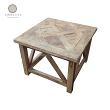 Rustic wooden finger joint top coffee side table