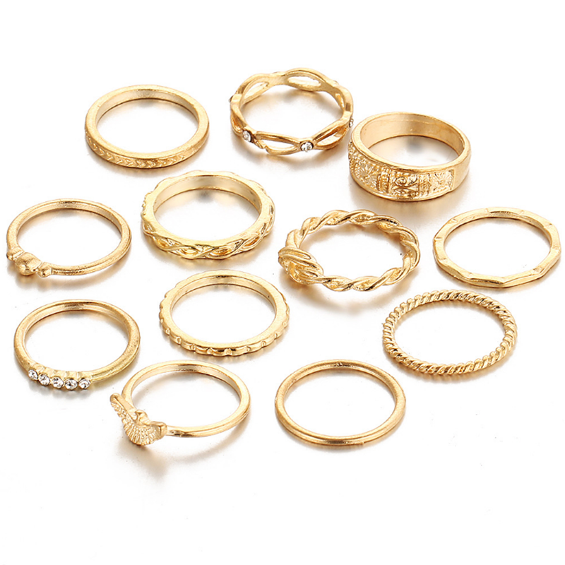 Hot-sales <strong>12</strong> pcs simple style girls alloy gold plating rings cheap different design diamond rings set