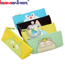 Wholesale custom printed colored school pencil case cute cartoon pen bag