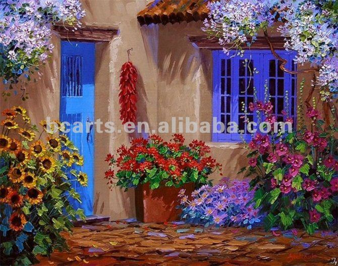 garden view oil painting,European, Mediterranean-style garden paintings of rural scenes, hand-painted wall decoration canvas