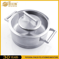 Stainless steel encapsulated bottom saucepan with cover and two handles