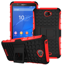 For Sony Xperia E4 Case, 2in1 Dual Layer Tough Rugged Kickstand Hybrid Heavy Duty Armor Shockproof Case