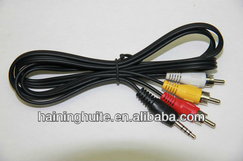 10 New AV cables, 6' Audio Video with 3 RCA to 3.5mm plug
