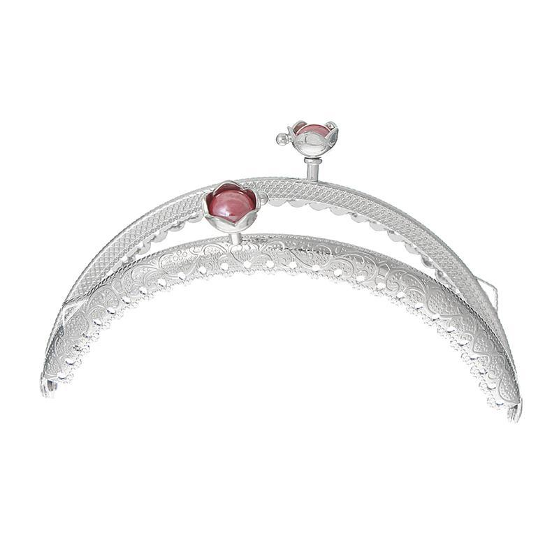 Metal Frame Kiss Clasp Arch For Purse Bag Silver Tone Red Resin Ball Flower Pattern 10.5cm x 6.4cm