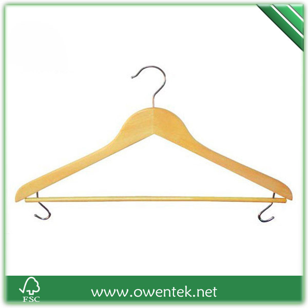 Manufacturer of wooden garment clothes display rack wooden hanger with two chromed hook