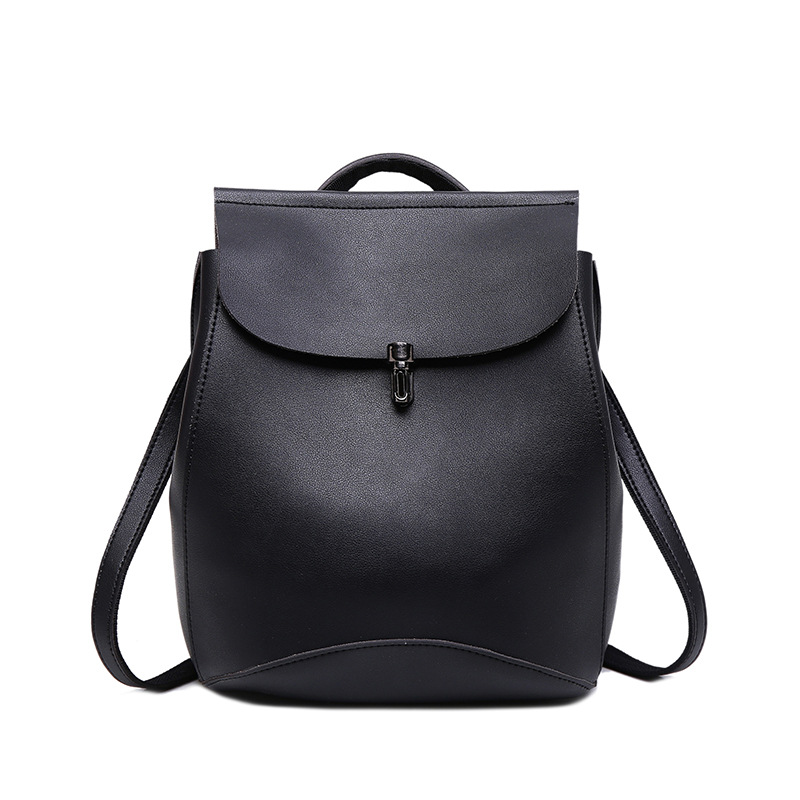 2019 Fashion simple Girls PU Laptop <strong>Backpack</strong> Women's Leather Traveling school bag