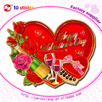 Best gifts for lover Happy valentines'day decoration stickers flocking wall paper 3d