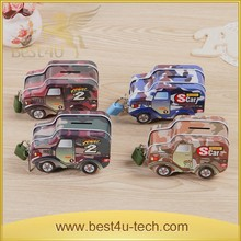 Tin Cars Shape Kids Coin Bank With Lock And Key