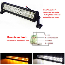 High power 72w dual color strobe remote control driving lights dot led light bars for jeep suv atv ute