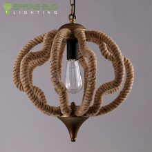 CE / RoHs approval loft American E27*1 pumpkin shape handmade hemp rope wrought iron chandelier lamp