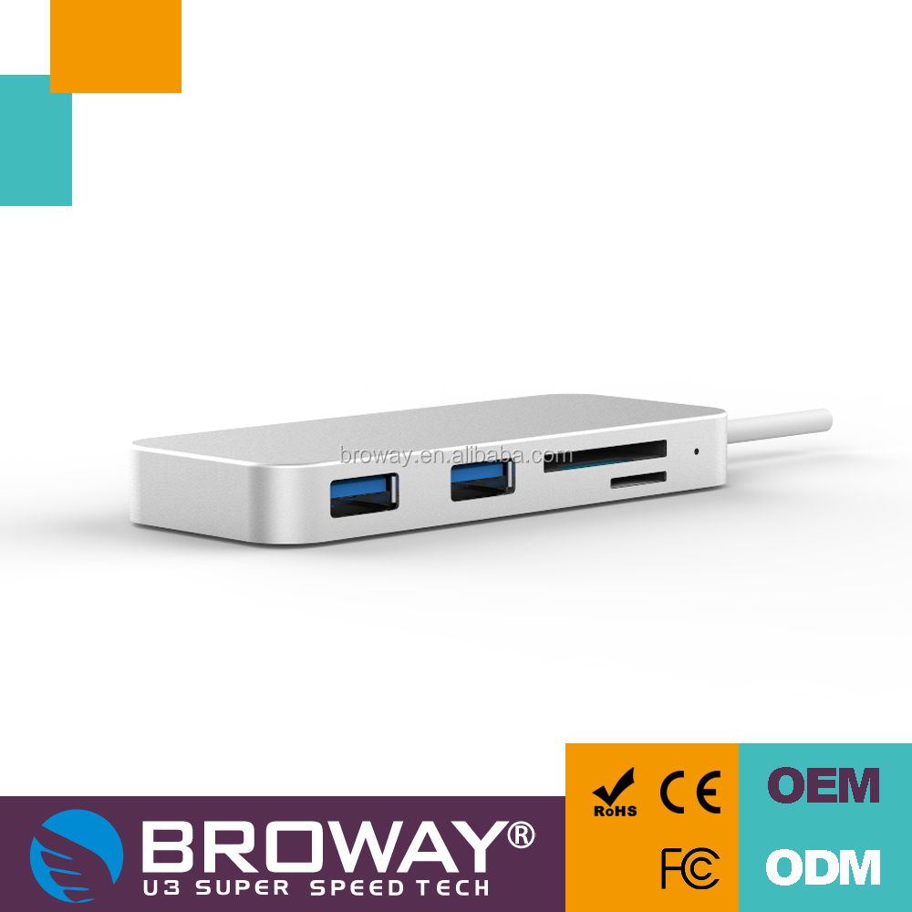 Broway USB-C 2port USB3.0 HUB with card reader 40cm cable