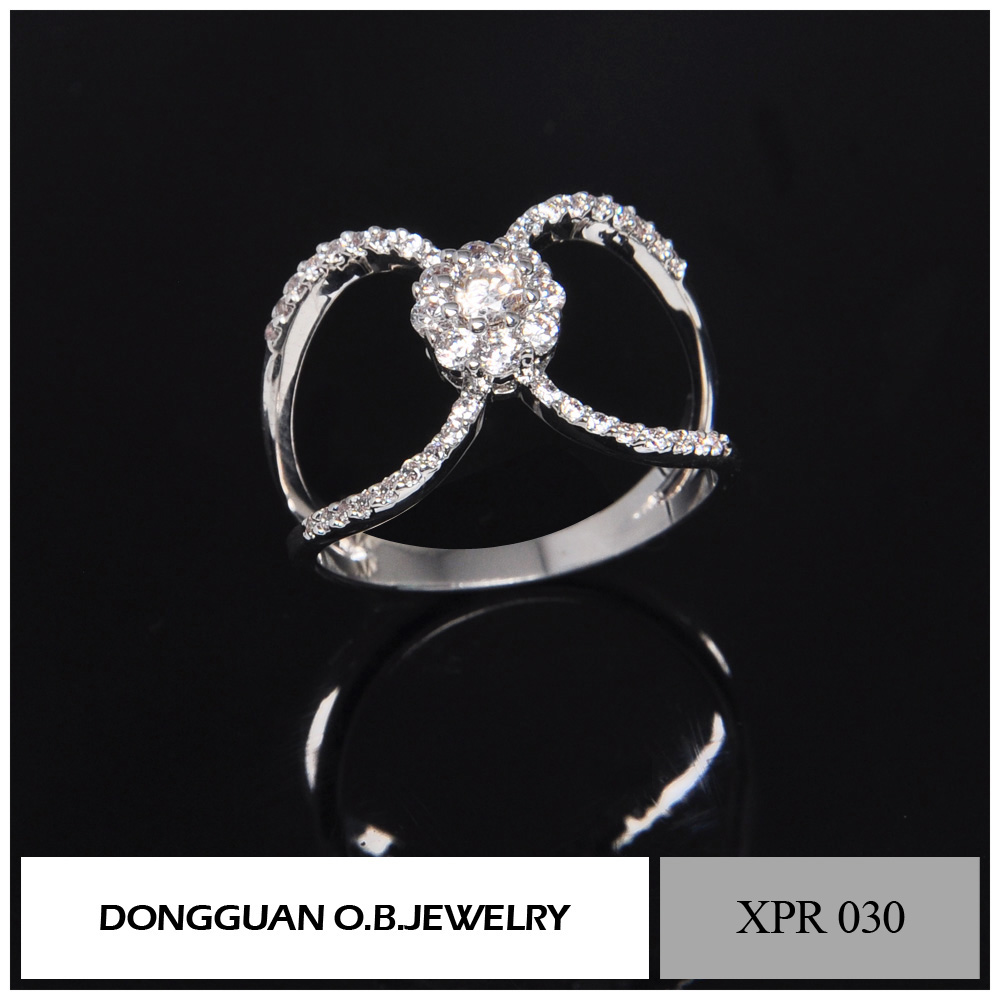 Wholesale Rhodium Plated AAA Cubic Zirconia Engagement Flower Ring/925 Silver Ring