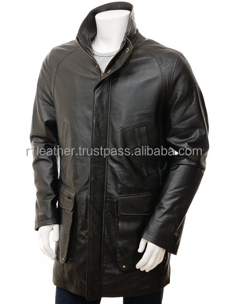 Hot style real sheep skin fur made overcoat men long leather coat
