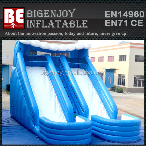 Double Blue wave Water Slide with Pool for Kid