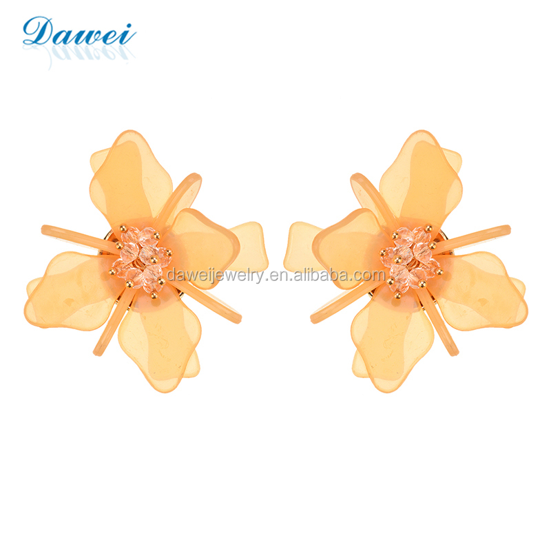 Factory Directly Wholesale 3-D Acrylic Flower Stud Earrings For Women