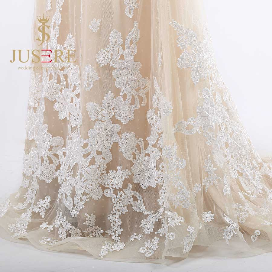 Newest A Line Square Neckline Backless Embroidered Appliqued Champagne Long Sleeves Wedding Dresses 2016