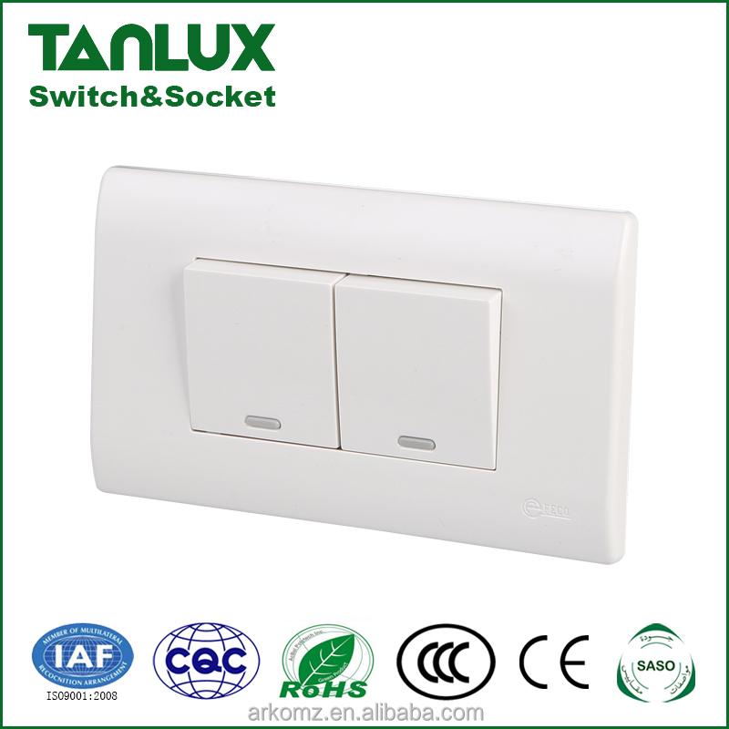 120mm size 2 gang 1 way electrical light control push wall switch