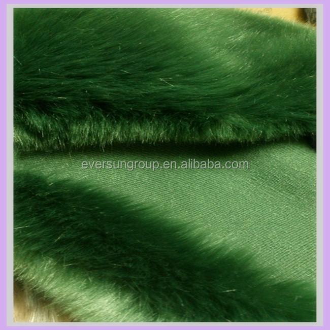 luxury acrylic green faux fox fur plush fabric long pile apparel imitation fur