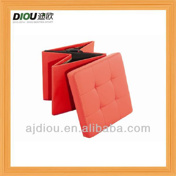 wholesale cube red PU shoe storage ottoman DO-6103