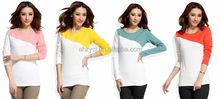 New ladies t-shirt fashion Korean spring/autumn/winter tops patchwork women long sleeve blouse