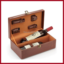 2 bottle leather wine box brown leather wine case with handle