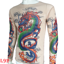 fake dragon tattoo full of body real long sleeves T-shirt tattoo clothing tattoo T-shirt