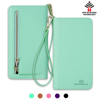Factory supply imported green PU leather wrist RFID handbag