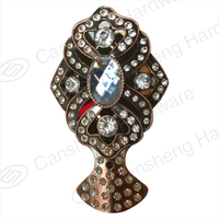 hot sale fany diamond elegant electroplated curtain rod pole finial end caps