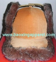 animal friendly fox faux fur push down and turn winter hat