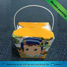 Paper fast food packaging box / disposable food container plastic handle