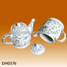 Factory direct wholesale white glazed silver teapot porcelain