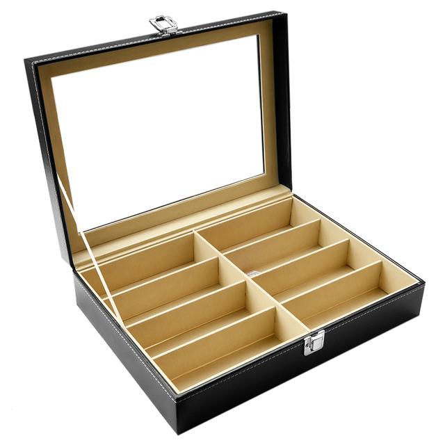 8 Slots Glasses Display Box PU Leather Luxury Sunglasses Display Case