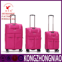 Outdoor traveling international trolley luggage with 4 wheels, wholesale luggage trolley bags polyester luggage suitcase