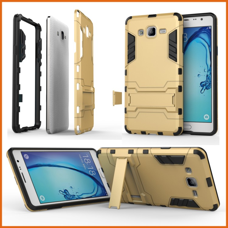 Kickstand hybrid metal frame pc back cover case for samsung galaxy on7