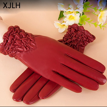 2017 New fashion winter red color wrinkle elastic cuff plain women leather gloves