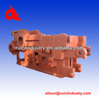 Red painted machine body resin sand iron casting foundry