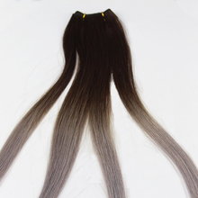 Wholesale colored ombre grey human hair extension machine wefts custom packaging
