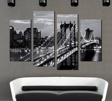 Wholesale dropshipping modern building decorative oil painting on canvas 5 pcs/set