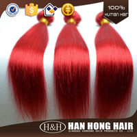 Factory on line hot selling fashion high quality 3 bundles red brazilian hair weave